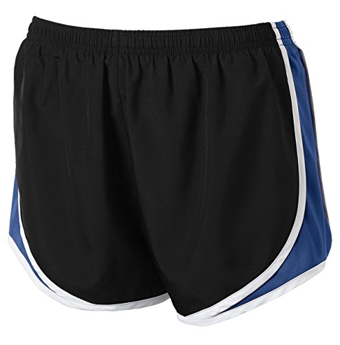 Clothe Co. Ladies Moisture Wicking Sport Running Shorts, Black/True Royal/White, L