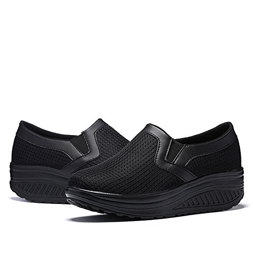 Sneakers Nero1 Ginnastica Scarpe Sportive Fitness Running KUAIKUHEI Stringate Tennis Heeled Casual Donna Zeppa Outdoor da Piattaforma wZqxBan6p