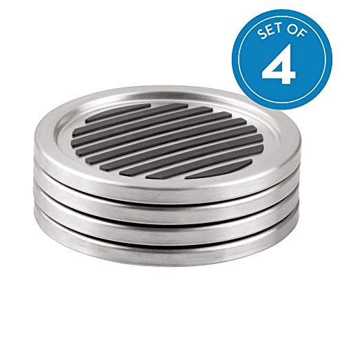 (iDesign Forma Brushed Stainless Steel Drink Coasters for Home Counters, Kitchen, Dining, Living Room, Patio, Coffee Table, Set of 4, Black)