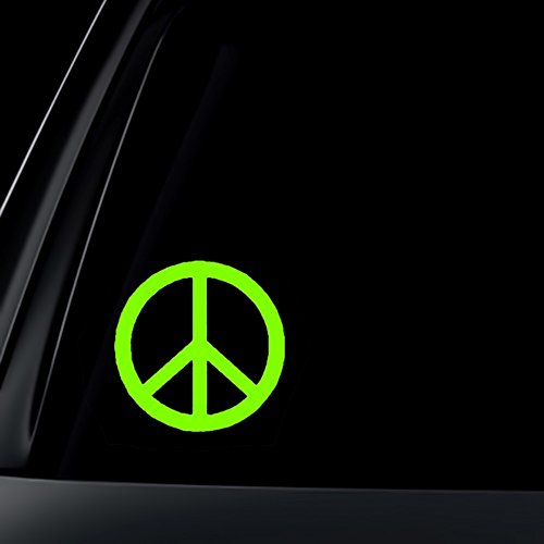Green Peace Sign - Peace Sign Car Decal / Sticker - Lime Green