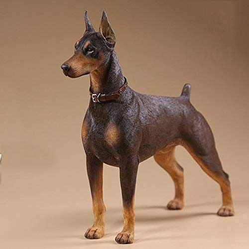 (RYYAIYL 1/6 Scale Doberman Pinscher Figurine Statue 7.2X2.8X6.9 Inch Resin Animal Dog Decorative Collectables for Home (Color : A))