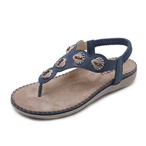 Strass Femmes Beach élastique Sandales Marin avec Forme JRenok Bleu String Bohémiens Plate Flat Tongs Comfort Summer fKTwY