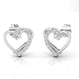IGI Certified 1/6 Carat Natural Diamond Sterling Silver Heart Shaped Stud Earrings for Women (J-K Color, I2-I3 Clarity)