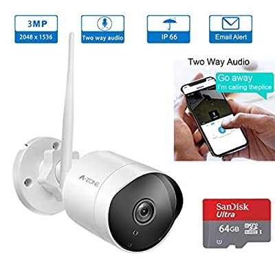 Wireless Two-Way Audio Outdoor Surveillance IP Camera - HD 3MP 1536P Bullet Camera 2.4G IP66 Waterproof Camera with 50ft Night Vision, Motion Detection Alarm/Recordin, Including 64GB TF Card by Tollar