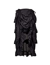 HTDBKDBK Women Summer Casual Loose Solid Color Steampunk Gothic Skirt Ruffles Pirate Skirt