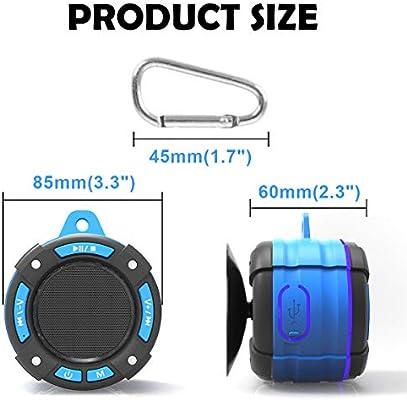Altavoz Bluetooth IPX7 Impermeable Altavoz de Ducha Bluetooth Inal/ámbrico Port/átil con FM Radio HD Deep Bass Speaker para Ba/ño Piscina Playa Outdoor