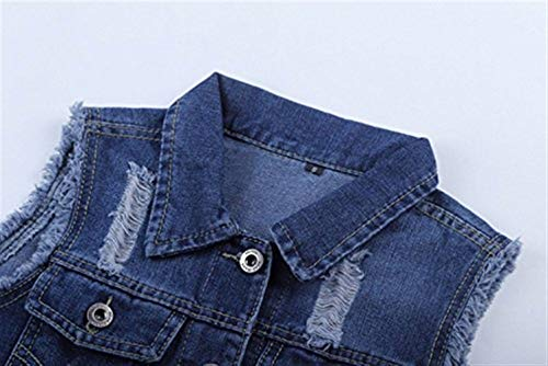 Fit Autunno Cute Outwear Slim Primaverile Fashion Vintage Chic Corto Dunkelblau Cappotto Casuale Jacket Gilet Bavero Jeans Smanicato Donna Denim Eleganti wXOvpUq