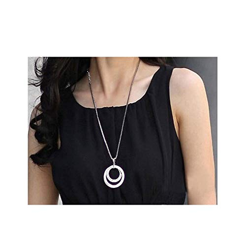 Dounble Round Circle Rhinestone Pendant Gold Silver Long Sweater Chain Box Circle Necklace for Women OL Fashion Elegant Jewelry (silver)