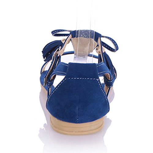 CoolCept Women Flats T-Strap Open Toe Fringed Flat Sandals Shoes Suede Blue qpz4Ngg7W