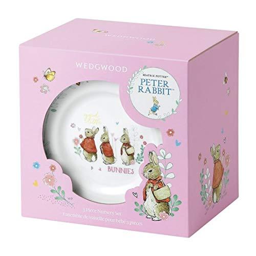 Wedgwood Girl's Peter Rabbit 3-Piece Plate, Bowl and Mug Set, White and Pink
