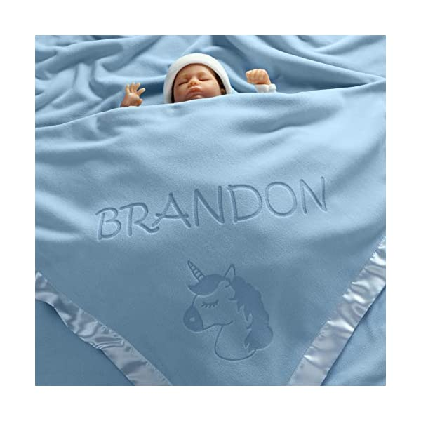 Custom Catch Personalized Unicorn Baby Blanket - Gift for Girl - Newborn or Infant - Pink or Blue (1 Line of Text) 7