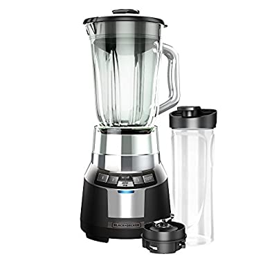 BLACK+DECKER BL1820SG-P FusionBlade Digital Blender with 6-Cup Glass Jar and 20 Ounce BPA-Free Portable Personal Blender Jar, Black/Stainless Steel Blender