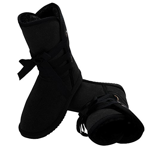 Buckle Black Boot Shoes Fur Biker Women Snow Zeagoo Faux Boots Ankle Winter qAw0PP4