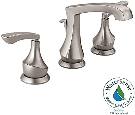 Delta Merge 8 Inch Widespread 2 Handle Bathroom Faucet In Spotshield