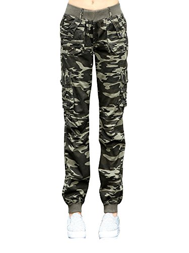 Women's Cotton Casual Elastic Waist Sweatpants Loose Camouflage Multi Pockets Cargo Pants Army Green Tag L-US (Camo Cargo Sweatpants)