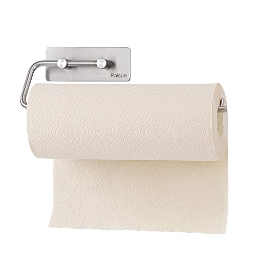 Paisue Paper Towel Holder Self Adhesive Toilet Paper Holder Wall Mount Toilet Paper Roll Holder Bathroom Kitchen, Stainless Steel Brushed Finish