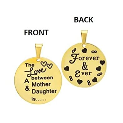 Amythyst Stainless Steel Double Sied Engraved The Love Between a Mother /& Daughter is Forever /& Ever Round Disc Pendants