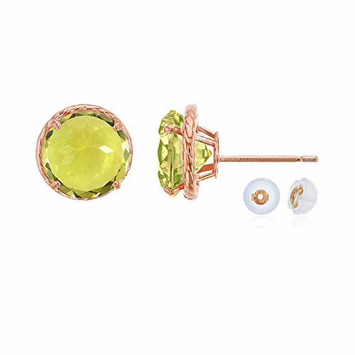 - 14K Rose Gold 7mm Round Lemon Quartz Rope Frame Stud Earring with Silicone Back