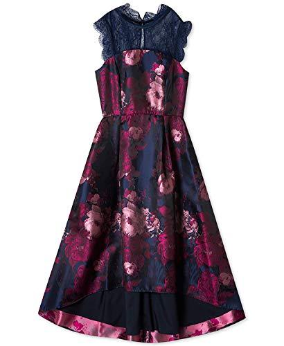 Rare Editions Big Girls Floral Jacquard Maxi Dress (Navy, 12)