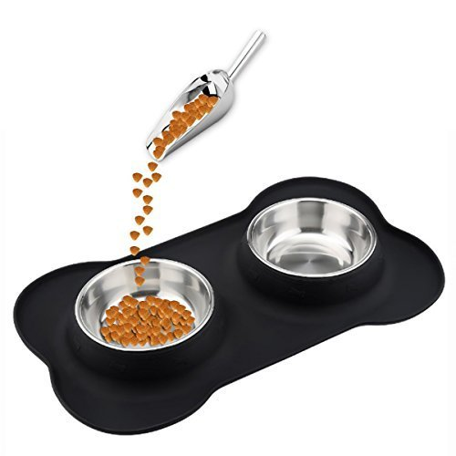 Dog Cat Bowl,Small Pet Bowl,Double Stainless Steel Pet Water & Food Feeder with Non-Spill Non-Slip Silicone Tray and Mat,Come with Pet Food Scoop Shovel Tool. (black)