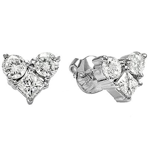 1.00 Carat (ctw) 14K White Gold Round & Princess White Diamond Heart Shaped Stud Earrings