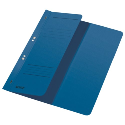 - Esselte Leitz Hole Punched Folders 1/2 Front Cover-A4-Manila Cardboard-Blue