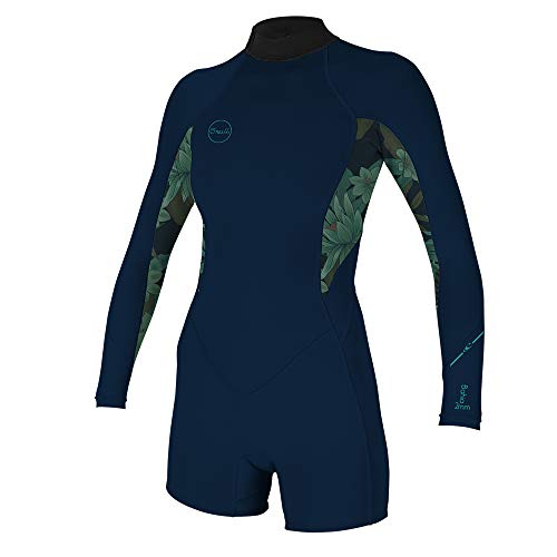 O'Neill Wetsuits Women's Bahia 2/1mm Back Zip Long Sleeve Spring, Abyss/Faro, 8