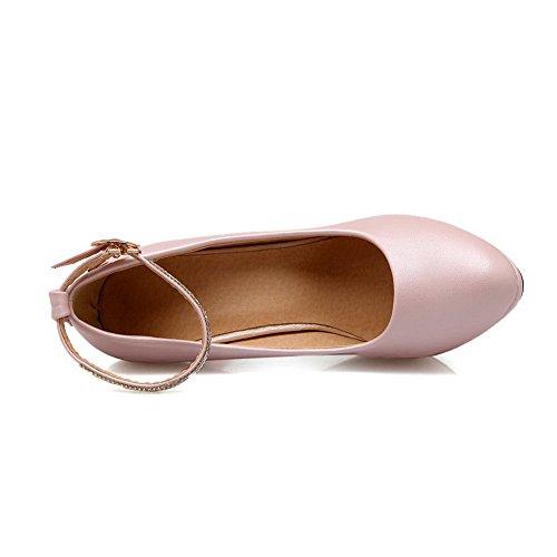 Balamasa Dames Enkel Manchet Bezaaid Strass Metalen Gespen Geïmiteerd Lederen Pumps-schoenen Roze