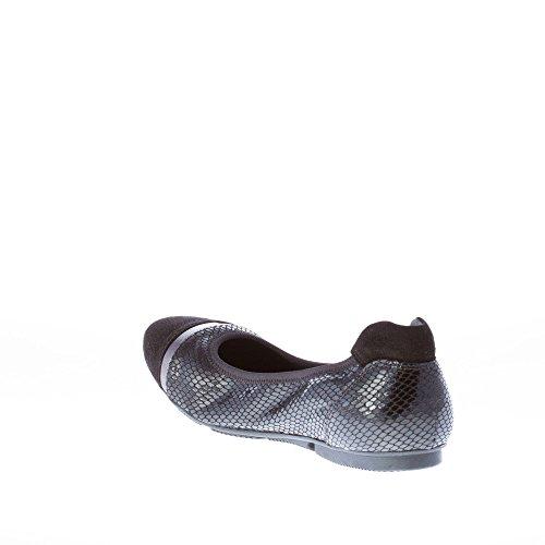 Reptile Black Black Print Hogan Women Flat Ballerina Leather Black Shoes Suede Uwqnta