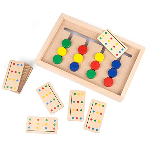 Preschool Learning Toys,Montessori Education & Color Sorting Toys,Wooden Sliding Puzzle,Slide Matching Brain Teasers Logic Game,Gift for Kids Child Boys Girls Age 3 4 5 6 7 Years Old Family Game