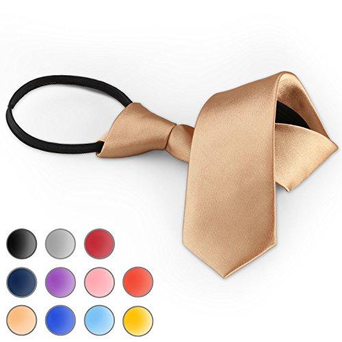 (Brooben Boys' Satin Zipper Neck Tie 14 inch Children Wedding Tie NK1 Champagne)