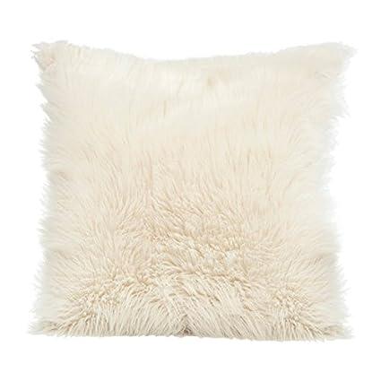 Almohada 45 X 45 cm Piel Sintética cremallera Crema sofá ...