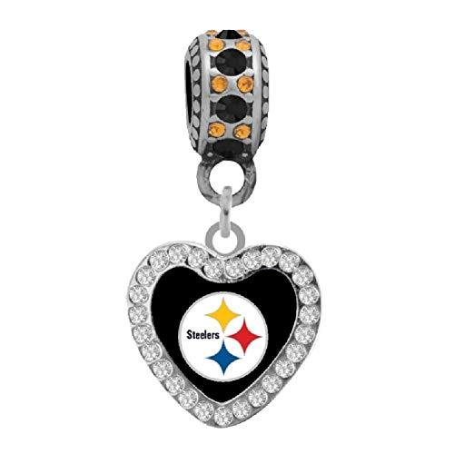 Final Touch Gifts Pittsburgh Steelers Rhinestone Heart Charm Fits European Style Large Hole Bead Bracelets