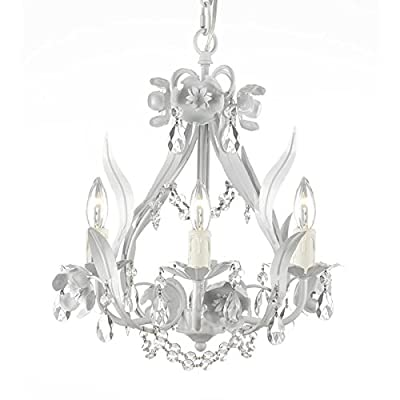 Gallery Floral Wrought Iron and Crystal White Swag Plug-in 4-light Mini Chandelier