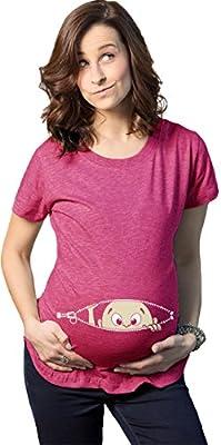 Womens Caucasian Peeking Baby Pregnancy Maternity T-shirt (Heather Pink)