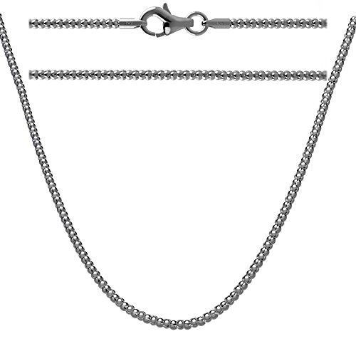 Kezef Creations 925 Sterling Silver Antique Finish 2mm Coreana Popcorn Chain Necklace 16 Inch