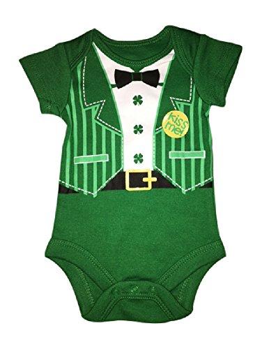 St. Patricks Day Baby Boys Onsies 0-3 Months (Tuxedo Kiss Me)