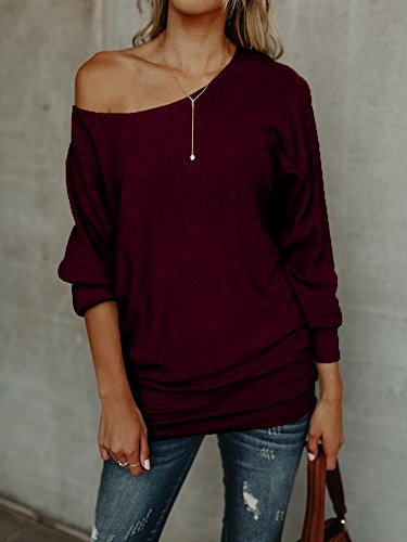 Sherryliy Womens Casual One Shoulder Loose Fit Boat Neck Long Sleeve Sweater Pullovers by Sherrylily (Image #1)