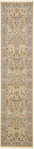 Unique Loom Narenj Collection Classic Traditional Hunting Scene Textured Beige Runner Rug 3 0 x 13 0