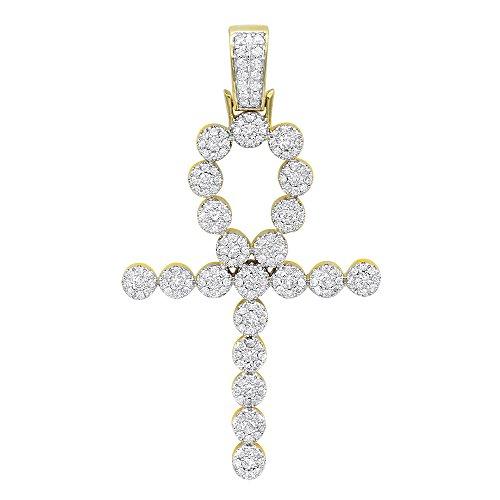 Unisex 14K Rose, White or Yellow Gold Diamond Egyptian Ankh Cross Pendant 1ctw (Yellow - Diamond Unisex Cross Gold