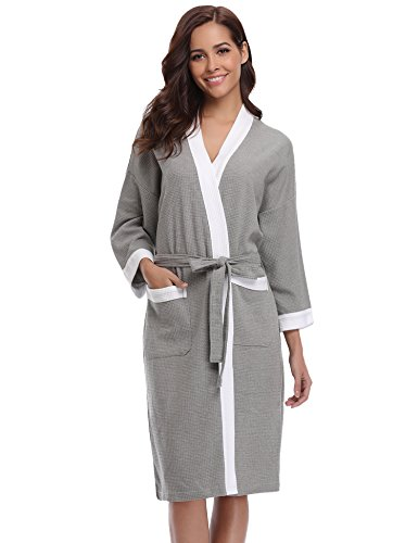 9f9ca4ad2a Aiboria Lightweight Robes for Women Waffle Wrap Bathrobes Soft Spa Robes  Unisex Style