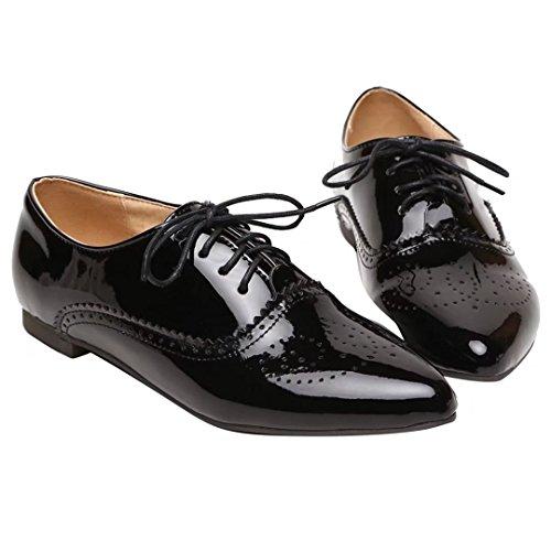 AIYOUMEI Flache Pumps mit Schnürung Lackschuhe Damen Bequeme Schuhe Für Frauen(34-43) Schwarz