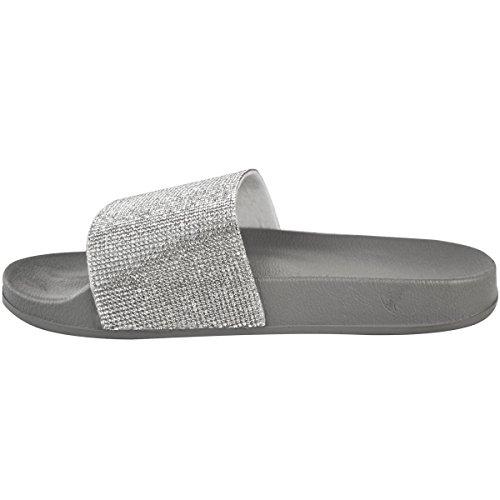 Plano Diamante Talla Zapato Zapatillas plateado Gris Cómodo Mujer Sandalias Pedrería Deslizables Thirsty Fashion De Verano P0Scx6UpYw