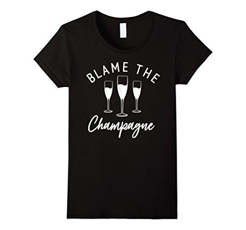 Womens Blame The Champagne Flutes White Text Graphic T-Shirt Small Black