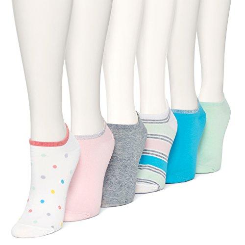 Hue Women's Cotton Liner Sock 6-Pack, Tutti Frutti, One Size