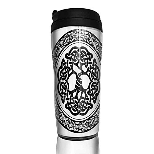 coffee cups holder Celtic Decor,Native Celtic Tree of Life Figure Ireland Early Renaissance Artsy Medallion Design,Black White 12 oz,cup for coffee