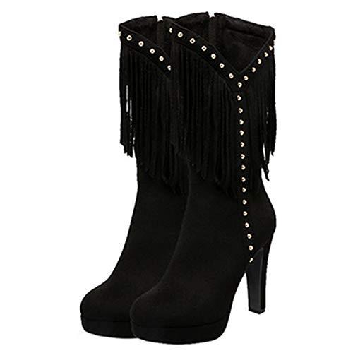 Women Tassel Mid Boots Black Sjjh calf Cowboy 8dgwn7