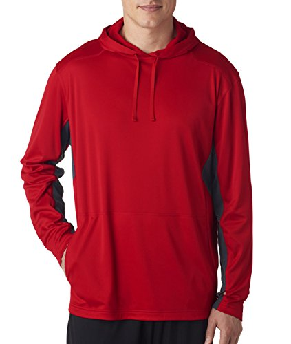 8231 UltraClub Adult Cool & Dry Sport Hooded Pullover - Red/ Charcoal - Large