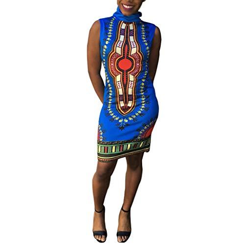 Dresses for Women Work Casual Shusuen Clothing Women's Traditional African Print Bodycon Sleeveless High Collar Dress -