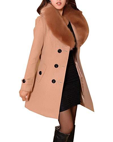 Col Manteau Fourrure Manches Double Qualité Avec Hiver Laine Warm Taille De Longues Haute Épaissir Femme Grande Outerwear Coat En Chic Branché Slim Fit Camel Boutonnage Elégante Mode 0zEwvdwx